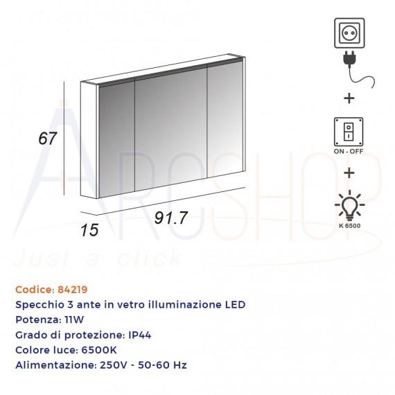 Specchio contenitore 67X91,7X15 tre ante con illuminazione LED