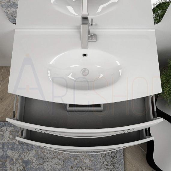 Mobile bagno sospeso curvo 100 cm bianco lucido con specchio LED lavabo ceramica e colonna Mod. Berlino