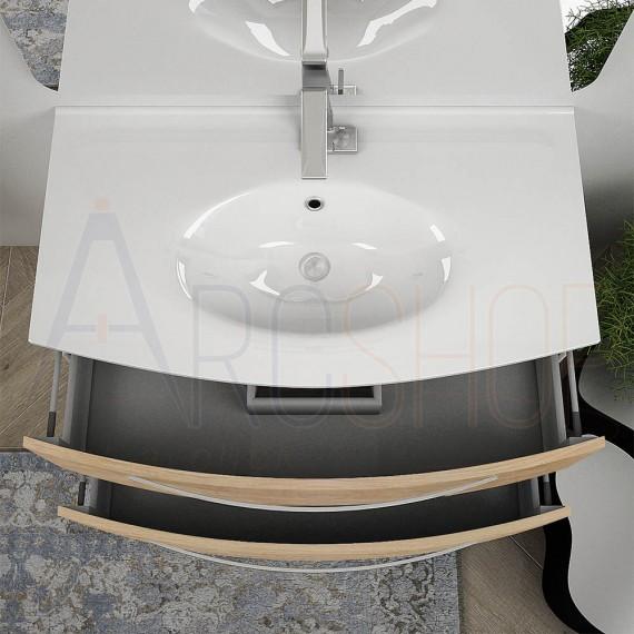 Mobile da bagno sospeso curvo 100 cm Berlino