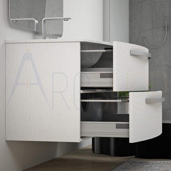 Mobile bagno sospeso moderno da 75 cm curvo bianco frassino con specchio e lavabo di ceramica Mod. Berlino