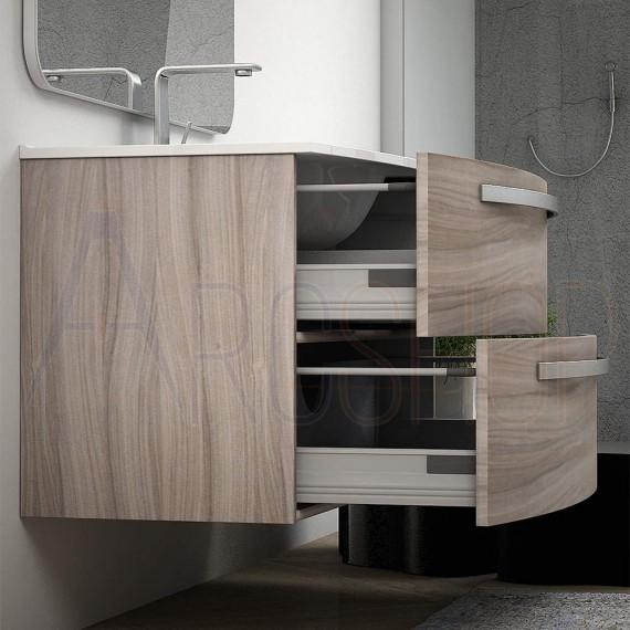 Moderno mobile bagno sospeso curvo 75 cm larice lavabo ceramica specchio LED e colonna 140 cm Mod. Berlino