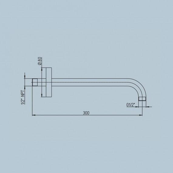 Braccio doccia a parete con fissaggio rinforzato Jacuzzi | rubinetteria tondo diametro 2,2 cm lunghezza 30 cm 1111071JA00