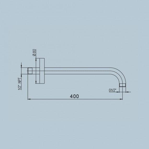 Braccio doccia a parete Jacuzzi   rubinetteria tondo con fissaggio rinforzato diametro 2,2 cm lunghezza 40 cm 1111073JA00