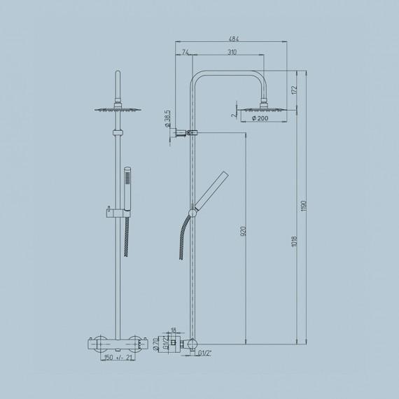 Colonna doccia Jacuzzi | rubinetteria Sunset 91 ottone cromato soffione diametro 20 cm con miscelatore termostatico 0SU00199JA01