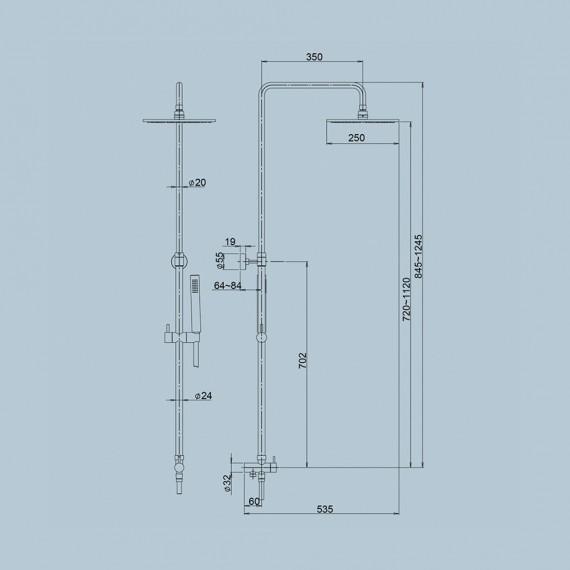 Colonna doccia Jacuzzi con altezza regolabile telescopica, deviatore a parete, doccetta e soffione COD 0SU00846JA00