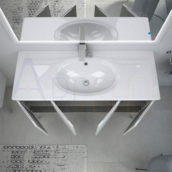 Mobile da bagno 120 cm a terra con lavabo e specchio LED touch