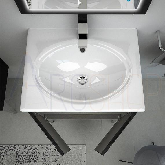Mobile bagno a terra 60 cm finitura grafite con specchio LED touch e lavabo