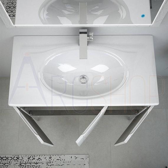 Mobile bagno moderno a terra bianco opaco 90 cm con colonna lavabo specchio  LED touch