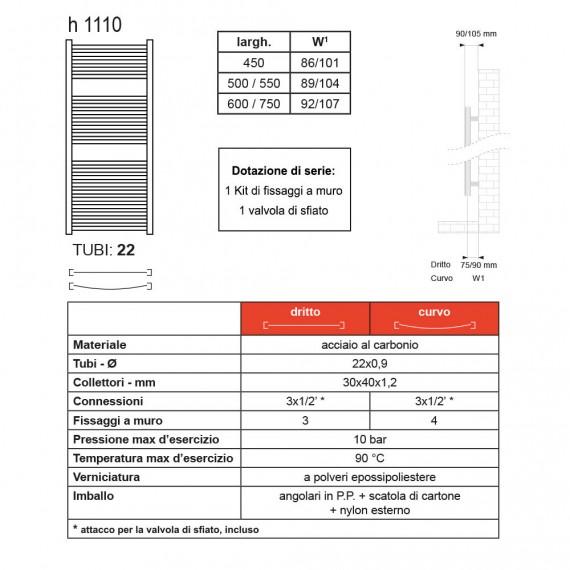 Termoarredo dritto cromato Lazzarini 1110X500 mm combinato Sanremo 386492