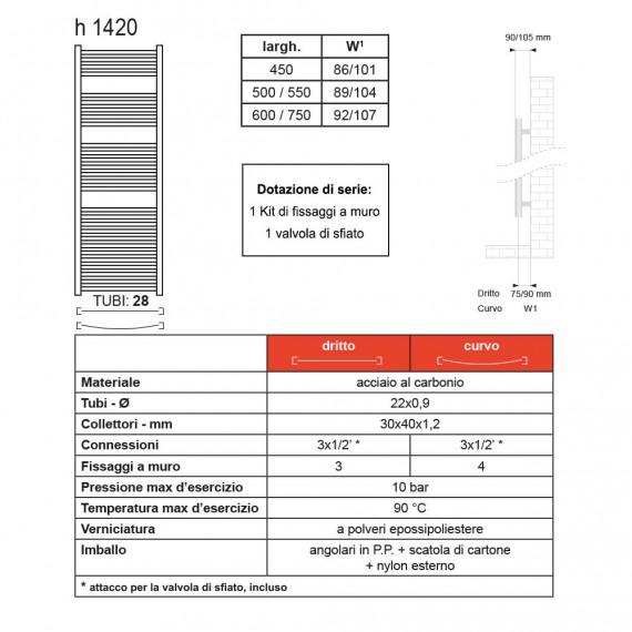 Lazzarini termoarredo dritto bianco 1420X500 mm combinato Sanremo 386479