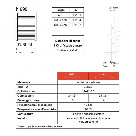 Termoarredo Lazzarini 690X500 mm dritto cromo scaldasalviette combinato mod. Sanremo 386488