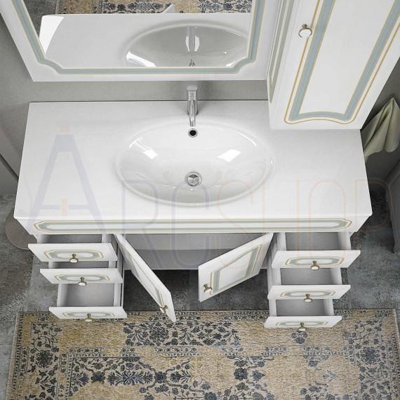 Mobile bagno classico 120 cm o 90 cm a terra con specchio lampada pensile e colonna