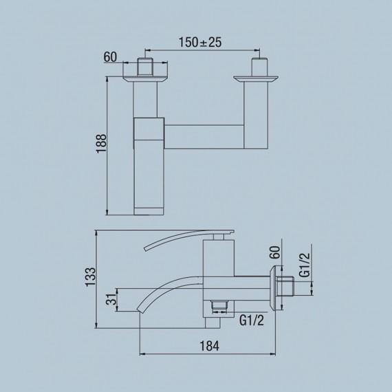 Gruppo vasca esterno con doccia duplex Jacuzzi   rubinetteria Glint ottone cromato 0IQ00002JA00
