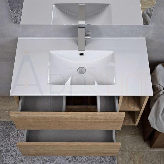 Mobile bagno moderno sospeso rovere bruges 90 cm doppio cassettone specchio e applique LED
