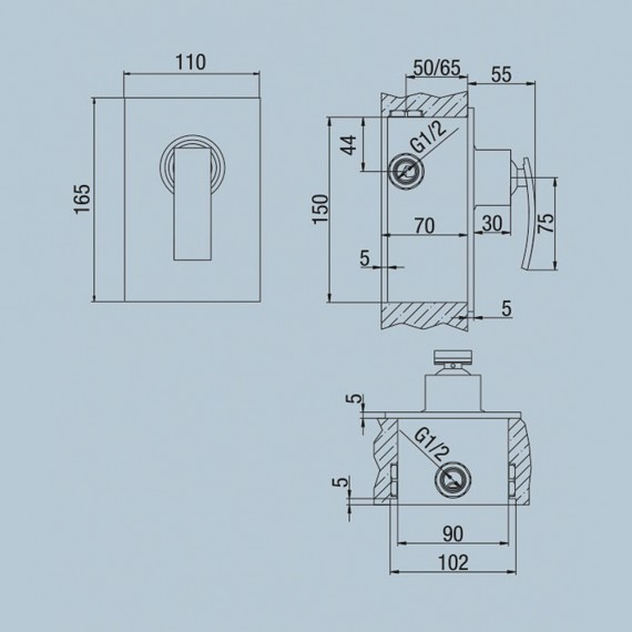 Miscelatore doccia incasso monoleva Jacuzzi   rubinetteria Glint ottone cromato 0IQ00410JA00