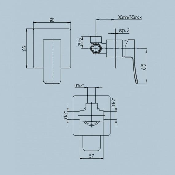 Miscelatore doccia incasso monoleva Jacuzzi   rubinetteria Tank ottone cromato 0TN00410JA00