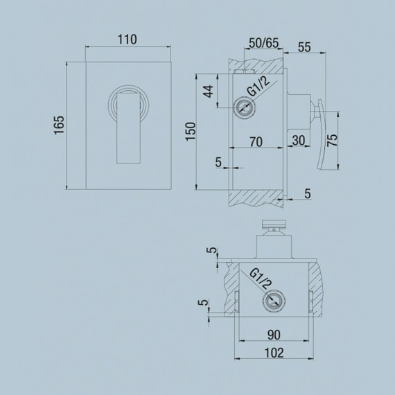Miscelatore doccia incasso monoleva Jacuzzi | rubinetteria Ray ottone cromato 0IO00410JA00