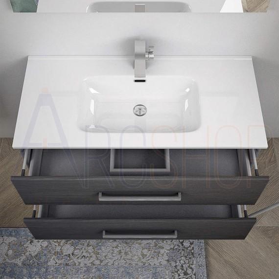 Mobile bagno sospeso moderno 100 cm grigio scuro venato con colonna specchio lampada LED e cassettoni soft close
