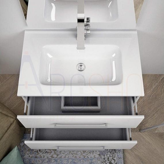 Mobile bagno bianco lucido sospeso moderno 75 cm con specchio lampada LED e cassettoni soft close