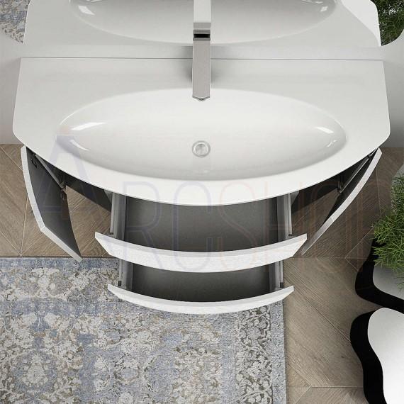 Mobile Bagno Sospeso Moderno 120 cm con cassettoni, specchio e applique led.