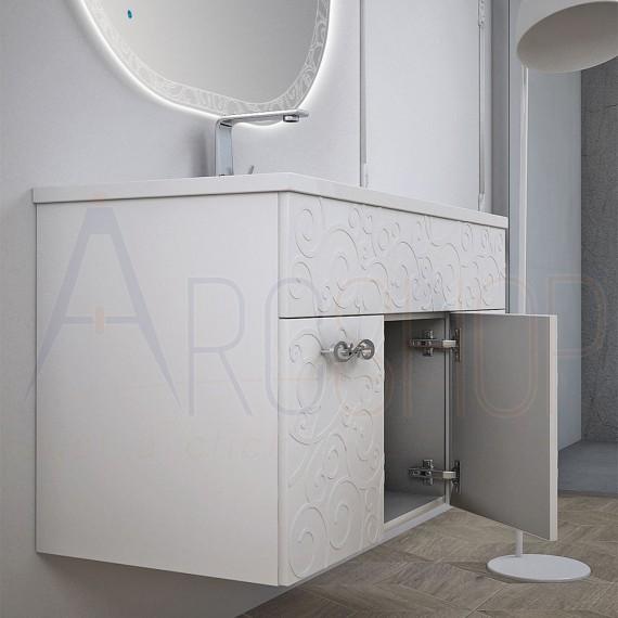 Arredo Bagno Colonna.Mobile Bagno Sospeso Bianco Lucido 100 Cm Con Specchio Intarsiato