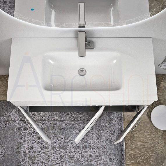 Mobile bagno sospeso 100 cm con specchio retroilluminato e colonna lavorazione a rilievo