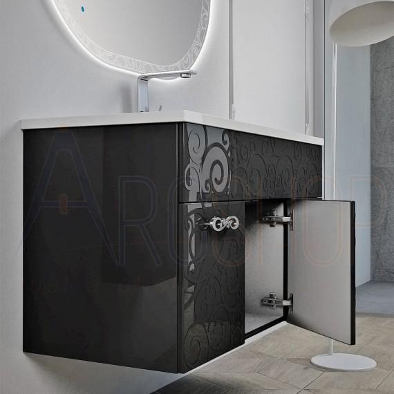 Specchio Bagno Nero.Mobile Bagno Nero Lucido Sospeso 100 Cm Lavorazione A Rilievo Con Specchio Retroilluminato Led Intarsiato Ovale E Colonna