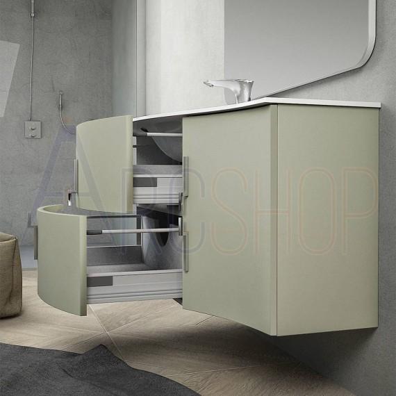 Mobile bagno sospeso ad onda 105 cm grigio natura con cassettoni soft close specchio e lampada LED (versione sinistra)
