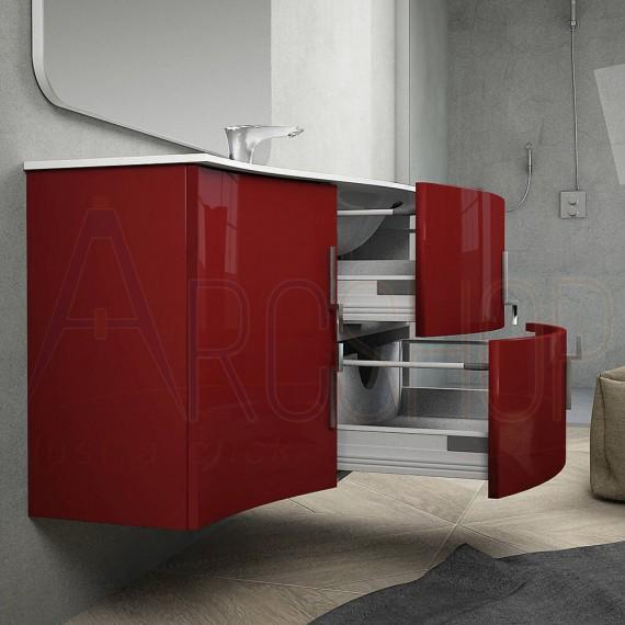 Mobile Bagno Rosso Lucido Sospeso Onda 105 Cm Con Colonna