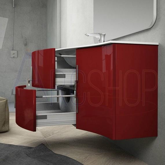 Composizione bagno sospesa onda rosso lucido 105 cm con colonna cassettoni soft close specchio e lampada LED (versione sinistra)
