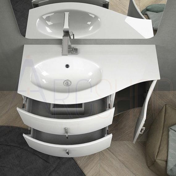 Mobile bagno onda bianco lucido sospeso 105 cm con cassettoni soft close specchio applique LED e colonna (versione sinistra)