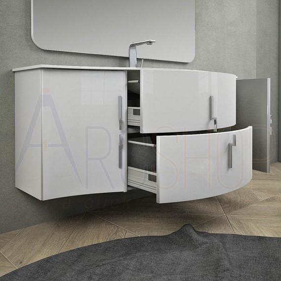 Mobile da Bagno Sospeso Praga 140 cm Bianco con Cassettoni, Lavabo e Specchio