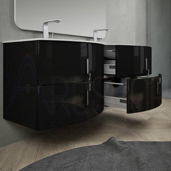 Mobile bagno nero lucido 140 cm sospeso moderno con doppio lavabo chiusure soft close specchio e lampada LED