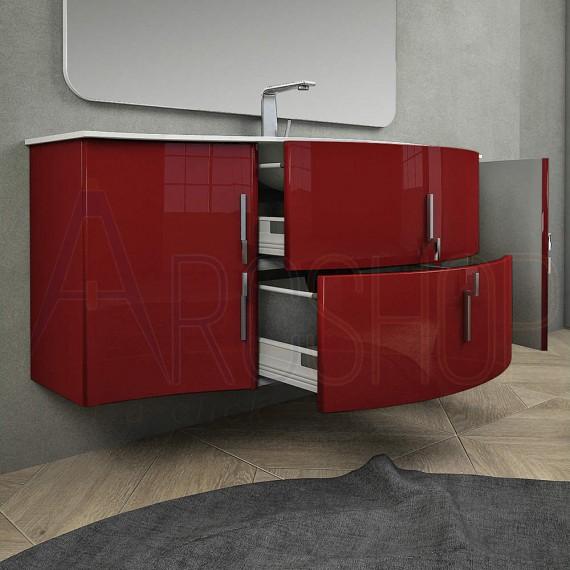 Mobile Bagno Rosso.Mobile Bagno Moderno Sospeso Onda Rosso Lucido 140 Cm Con Specchio Lampada Led Chiusure Soft Close E Colonna