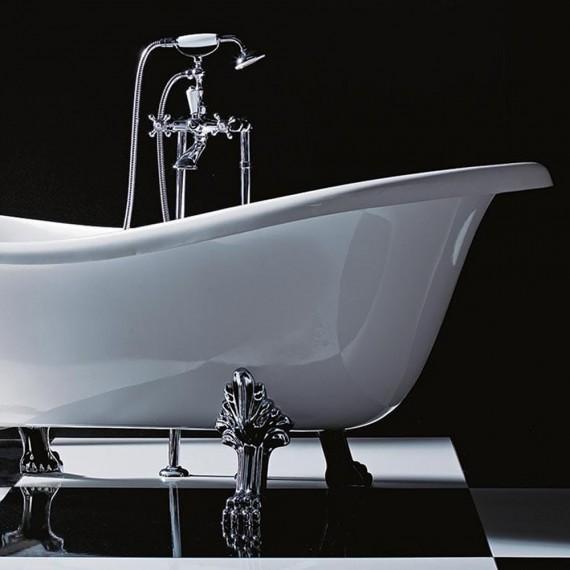Vasca Da Bagno Freestanding Classica Con Piedi Cromo 170 Cm
