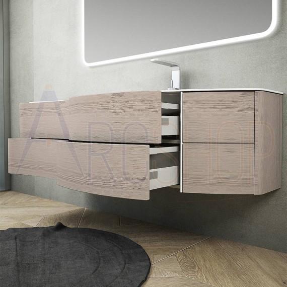 Mobile Bagno Sospeso Moderno 150 Cm Rovere Sbiancato Con Sponde E Lavabo Dx In Solid Surface Chiusure Soft Close Arcshop