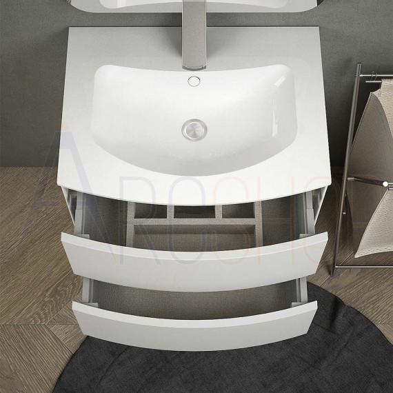 Mobile bagno bianco opaco sospeso 60 cm con lavabo solid surface specchio  led touch retroilluminato cassettoni soft close