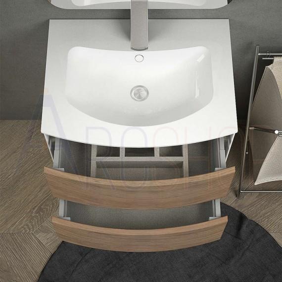 Mobile bagno sospeso 60 cm rovere tabacco con lavabo solid surface specchio  led Touch retroilluminato cassettoni soft close