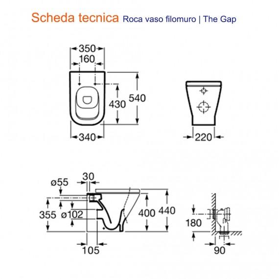 Sanitari Filomuro A Pavimento Vaso E Bidet Roca Mod The Gap Arcshop