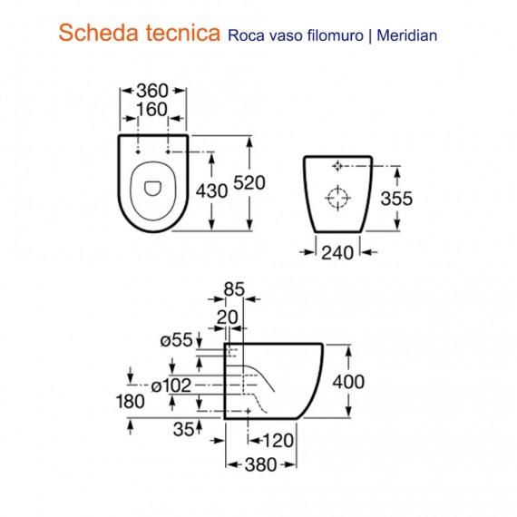 Sanitari filomuro a terra serie Meridian wc e bidet| Roca