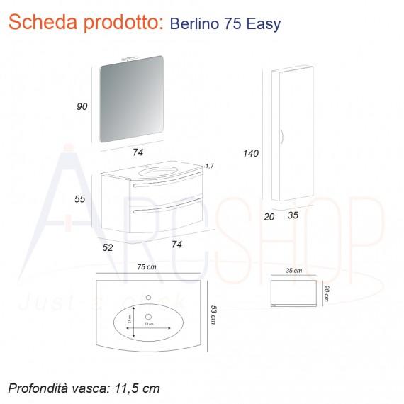 Mobile Bagno Sospeso 75 cm con specchio e colonna.