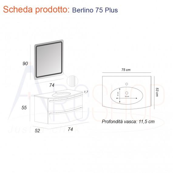 Composizione mobile bagno bianco lucido sospeso curvo 75 cm lavabo in ceramica e specchio retroilluminato Mod. Berlino