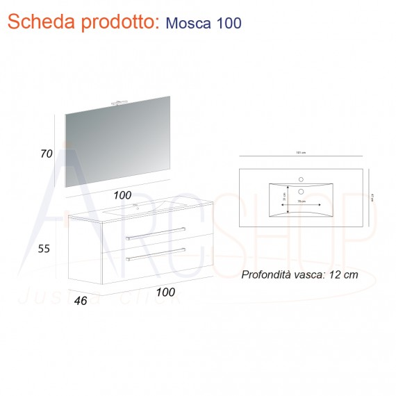 Mobile Bagno Sospeso Moderno 100 cm con cassettoni, specchiera e applique Led.