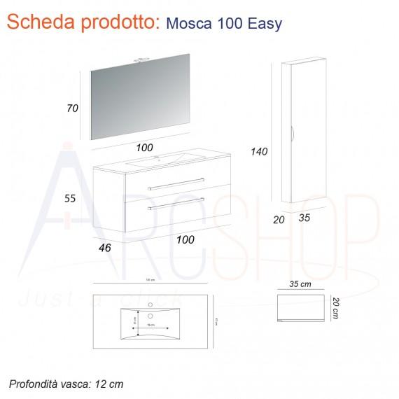 Composizione da bagno sospesa moderna 100 cm finitura larice con colonna specchio applique LED cassettoni soft close