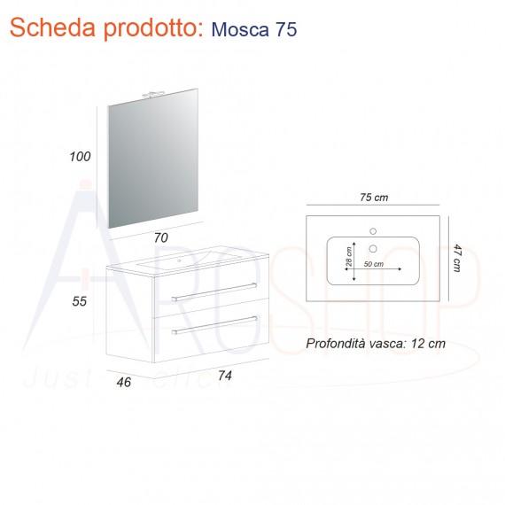 Mobile da bagno moderno sospeso 75 cm finitura larice con specchio lampada LED cassettoni soft close