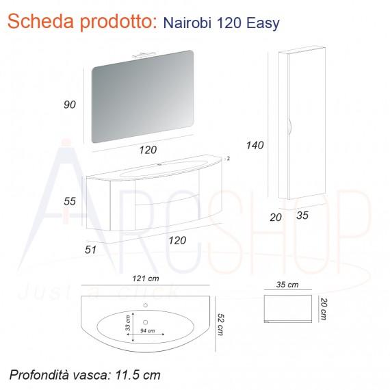 Mobile bagno grigio talpa sospeso 120 cm con specchiera cassettoni soft close lampada LED e colonna