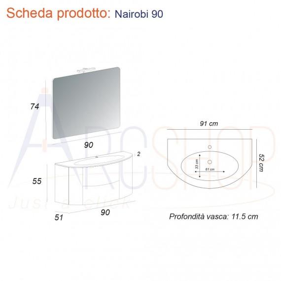 Mobile Bagno Sospeso 90 cm con cassettoni, specchiera e applique Led.