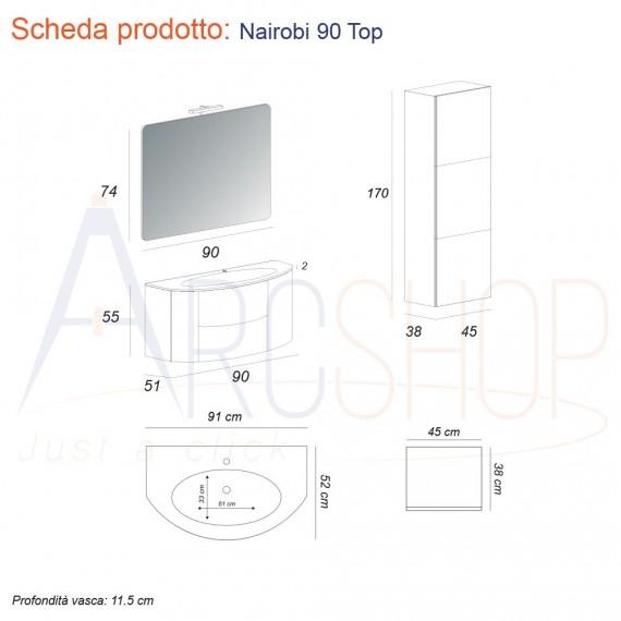 Composizione bagno 90 cm sospeso grigio natura con specchio cassettoni soft close lampada LED e colonna 170 cm
