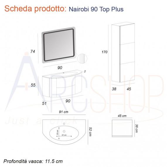 Mobile da bagno 90 cm rovere tabacco sospeso con colonna 170 cm specchio LED retroilluminato e cassettoni soft close