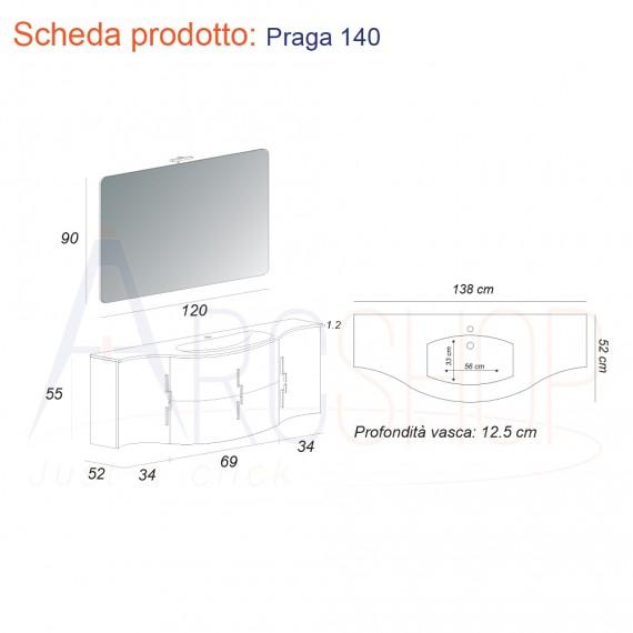 Mobile Bagno Curvo Onda Bianco Lucido Sospeso 140 Cm Con